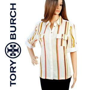 Tory Burch Short Sleeve Size 2 Stripped Blouse